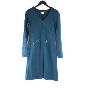 Athleta Celebration Blue Long Sleeve Zipper Dress